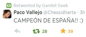 Paco Vallejo Spanish Champ 2014 Tweet